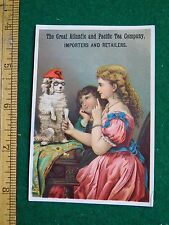 1870s-80s Atlantic Pacific Tea Co Girls Dressing Up Dog Victorian Trade Card F33