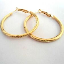 MEDIUM GOLD PLATED DESIGN HOOP EARRINGS 40MM HYPOALLERGENIC LADIES GLH7