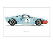 Ford GT40 Gulf - Limited Edition of 50 Classic Car Print Poster by Steve Dunn