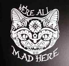 Alice in Wonderland Cheshire Cat Looking Glass decal car sticker Sugar Skull
