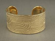 "shiny Gold cuff bracelet textured swirl pattern metal bangle 1 5/16"" wide"