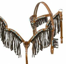 WESTERN LEATHER HORSE BRIDLE BREAST COLLAR PLATE WITH BEADS AND LEATHER FRINGE