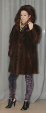 BEAUTIFUL BROWN MINK FUR HOOD JACKET  COAT SIZE  M-L