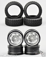 4Pcs Rubber Tires 6mm Offset Wheels Rims RC 1/10 Scale Rally Racing Off Road Car