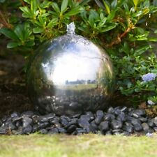30cm Solar Powered Stainless Steel Sphere Water Feature with Battery Back Up