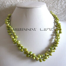 """18"""" 5-7mm Green Baroque 2Row Freshwater Pearl Necklace UK"""