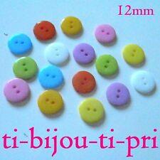 LOT de 50 BOUTONS ROND PLATS lisses 2 TROUS acrylique 12mm multicolores tricot