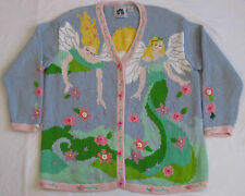 Vtg 80's STORYBOOK KNITS Fairy Tale Cardigan Sweater 2X Flowers Blue V-Neck