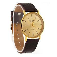 Luxus Gold Analog Armbanduhr Gentle Herren Uhr Leder Band Quartz Wrist Watch