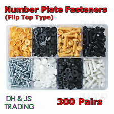Assorted Box of Number Plate Fasteners Flip top & Bolt types Screws Caps