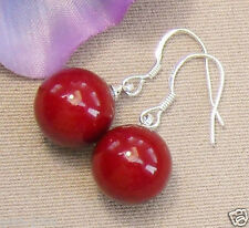 Rare 14mm Coral Red Color South Sea Shell Pearl 925 Sterling Silver Earrings
