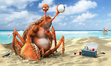A4 Poster – Giant Lobster have a Picnic on the Beach (Picture Print Funny Art)