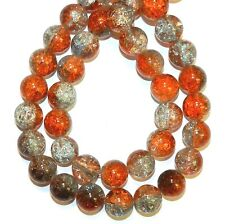 G3369 Orange-Red / Blue / Crystal Multi-Color 12mm Crackle Glass Round Beads 32""