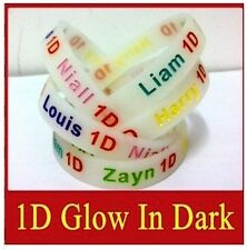 12 MM BANDS ~ GLOW IN THE DARK ~ 1D One Direction ~ DEBOSSED SILICONE WRISTBANDS