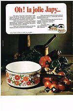 PUBLICITE  1971   JAPY    casseroles faitouts  accessoires de cuisine