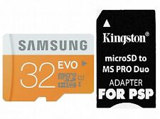 48MB/s Samsung 32GB Micro SD Class 10 PRO Duo Adapter For PSP 1000 2000 3000