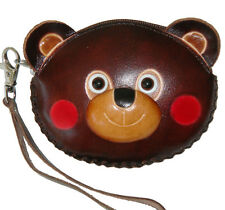 Leather Wristlet Coin/change Purse,Jewelry Holder,lovely Baby Bear face Pattern