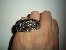 2-Finger Knuckle Ring Size 7 / 8 -Pave Silver & Hematite color Beaded Ball Chain