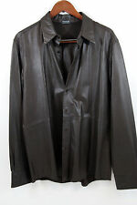 DKNY Dark Chocolate Leather Long Sleeve Shirt Size L  Made In India