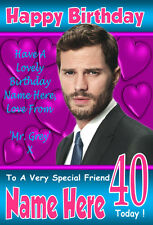 JAMIE DORNAN 50 SHADES OF GREY Personalised Birthday Card 3 ANY NAME / AGE / ETC