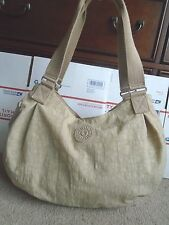 Kipling  khaki nylon women's large shoulder tote bag