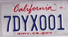 UNDATED CALIFORNIA~7DYX001~DMV.CA.GOV~~ LICENSE PLATE~TAG