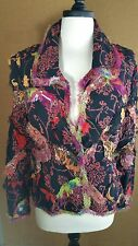 Vintage Boho Nothing Matches Jacket Distressed Rayon Fringe Floral Blazer Sz S/M