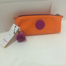 NEW ARRIVAL! KIPLING FREEDOM PEN CASE / COSMETIC POUCH BAG CASE POPSICLE ORANGE