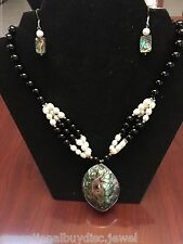 ESTATE ABALONE ONYX PEARL TENNIS NECKLACE FREE EARRINGS 19 INCH