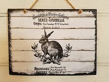 Easter Rabbit Wreath Farmhouse Rustic Shabby Chic Plaque Wood Sign