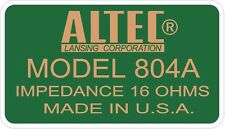 ALTEC LANSING Decal For 804A Driver. A7  VOTT set of four (4)
