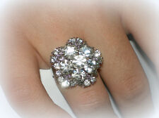 PRETTY TEEN TEENAGER CRYSTAL FLOWER RING ADJUSTABLE SZ 7/8/9~GIFT FOR GIRL HER