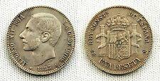 ALFONSO XII 1 PESETA 1883*18-83 PERFECTAS VF+/MBC+ SILVER/PLATA MUY RARA ASI