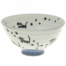 "2x Japanese 4""Grey Crackle Blk Cats  Rice Bowl #130-617"