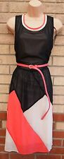 PRIMARK BLACK PINK WHITE BLOCK BELTED FLARE SKATER A LINE VTG TEA DRESS 18