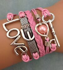 NEW Retro Infinity Key Love Heart Pearl Leather Charm Bracelet plated Silver 3C