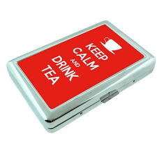 Metal Silver Cigarette Case Holder Box Keep Calm and Drink Tea Design-018