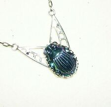 CARNIVAL GLASS SCARAB Necklace Egyptian Revival Beetle SILVER Plated ART DECO