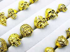wholesale lots 10pcs Gothic skull carved biker assorted men gold tone rings