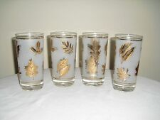 4 LIBBEY Gold Leaf Frosted Glasses / Tumblers