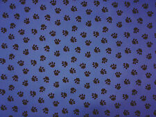 PU COATED PAW PRINT BLUE C71 WATER REPELLENT SHOWERPROOF FABRIC DOG BEDS COATS