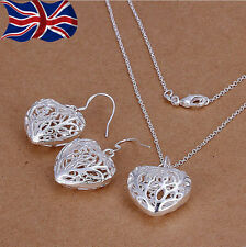 925 Sterling Silver Heart Necklace Earrings Set Filigree style Gift Bag UK