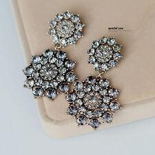 Boucles d`Oreilles Clip Pince Retro Cristal Floral Gris Baroque Class Mariage J8