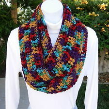 Colorful Red Purple Gold Blue SUMMER INFINITY LOOP SCARF Handmade Crochet Knit