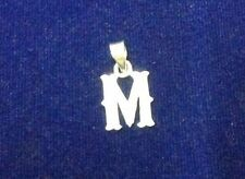 Pure 925 Sterling Silver Initial Alphabet M Letter Pendants for unisex