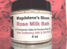 ROSE MILK BATH Therapeutic Salts Aromatherapy Skin Softener Rose Oil 4 oz