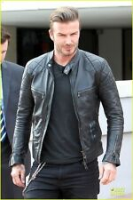David Beckham Motor Biker Real Sheepskin Leather Motorcycle Men's Black Jacket