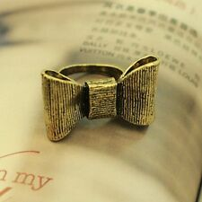 Chunky vintage retro style bronze adjustable bow ring