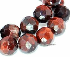 MAHOGANY RED TIGER EYE GEMSTONE FACETED ROUND 10MM LOOSE BEADS 7.8""
