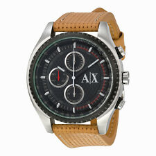 Armani Exchange Chronograph Black Dial Brown Leather Mens Watch AX1608